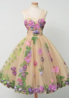 A-Line Scoop Keee-Length Sleeveless Champagne Tulle Homecoming Dress with Purple Flowers