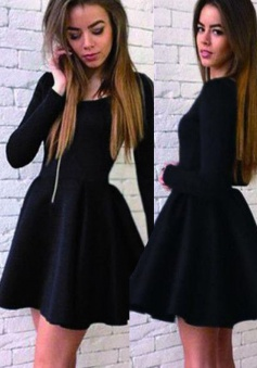 A-Line Scoop Long Sleeves Short Black Satin Homecoming Dress