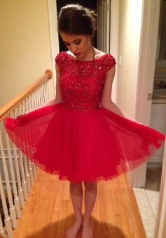 Bateau Cap Sleeves Above-knee A-line Tulle Red Homecoming Dresses Beaded