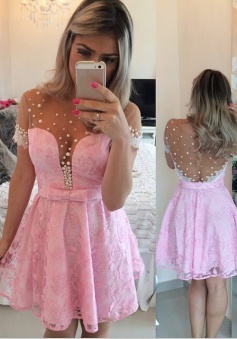 A-line Mini Lace Short Sleeves Pink Homecoming Dress With Belt Beading