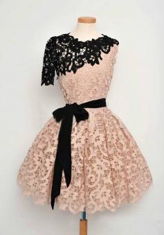 Vintage A-line Black One-shoulder Short Pink Homecoming Dress with Belt