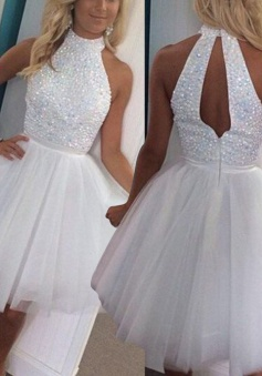 A-Line High Neck Open Back White Short Tulle Homecoming Dress with Beading