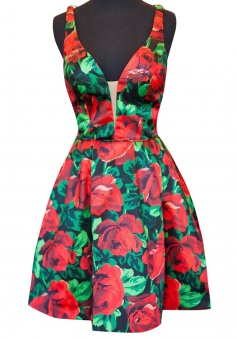 A-line Deep V-neck Short Satin Sleeveless Flowers Print Backless Homecoming Dress