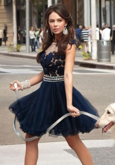 Pretty Bateau Sleeveless Short Navy Blue Homecoming Dress with Appliques Beading
