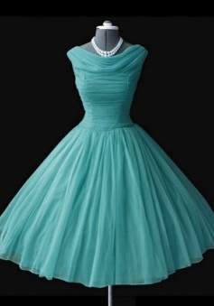 Vintage Cowl Neck Mid-Calf Ball Gown Blue Homecoming Dress with Pleats