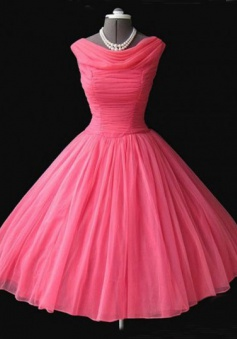 Vintage Cowl Neck Mid-Calf Ball Gown Peach Homecoming Dress with Pleats