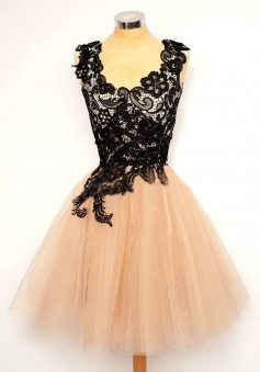Elegant A-line Scalloped-Edge Black Lace Short Tulle Homecoming Dress