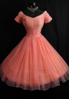 Vintage Bateau Short Sleeves Ball Gown Knee-Length Coral Homecoming Dress with Pleats