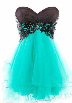 Hot-selling A-line Sweetheart Short Mint Tulle Lace-up Homecoming Prom Dress with Appliques
