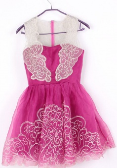 Cute Short Sleeveless Illusion Neck Rose Homecoming Party Dress
