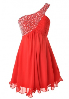 Sweet One Shoulder Short Red Homecoming Dress with Beading Ruched