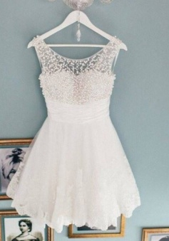 A-Line Bateau Short Ivory Lace Homecoming Dress with Pearls Ruched