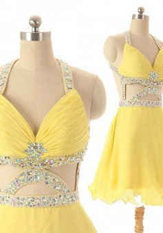 Dramatic A-line V-neck Short Chiffon Backless Daffodil Homecoming Dress with Rhinestone