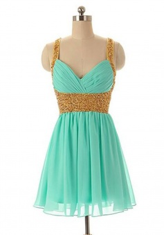Stunning V-neck Criss-Cross Straps Short Mint Homecoming Dress with Beading