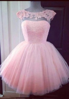 Elegant Bateau Pink Short Tulle Homecoming Dress with Appliques Beading