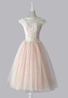 Simple Dress Vintage Lace Scoop Capped Tulle Homecoming Dress