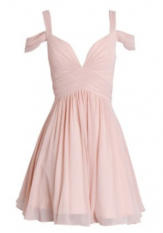 A-Line Straps Short Pearl Pink Chiffon Bridesmaid Dress with Ruched