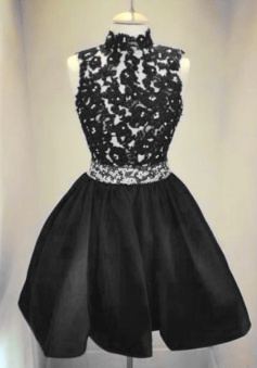 Stunning High-neck Short Black Homecoming/Cocktail Dress with Lace