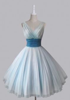 Vintage Short V-neck 50s Chiffon Light Sky Blue Homecoming Party Dress