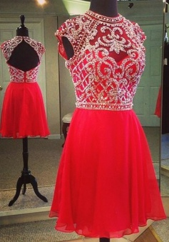 A-line High Neck Short Chiffon Cap Sleeves Beaded Backless Red Homecoming Dress