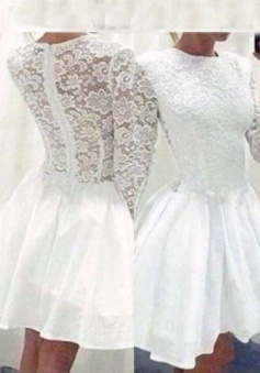 A-Line Jewel Long Sleeves White Short Lace Homecoming Party Dress