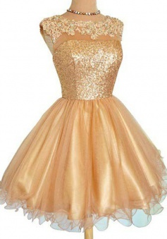 Elegant A-line Scoop Organza Sequin Gold Short Homecoming Party Dress