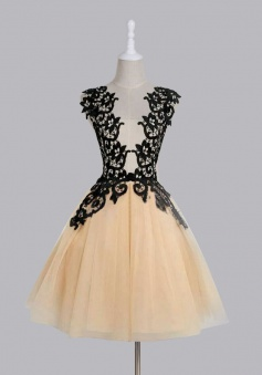 Elegant Scoop Mid-calf Champagne Homecoming/Party Dress with Black Lace