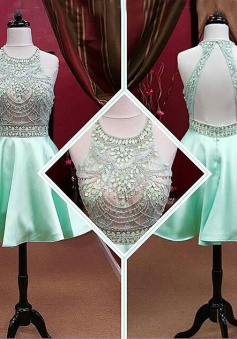 A-line Scoop Short Backless Sleeveless Mint Prom/Homecoming Dress with Beaded