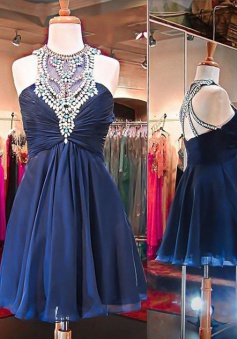 A-Line Round Neck Open Back Short Dark Blue Chiffon Homecoming Dress with Beading