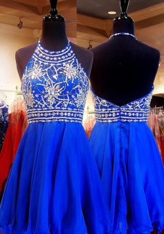 A-line Halter Short Chiffon Beaded Backless Royal Blue Homecoming Party Dress