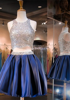 Sparkling Two-pieces Scoop Sliver Sequin Short Blue Homecoming Dress Prom Gowns