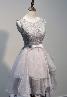 A-line Scoop Backless Short Grey Organza Homecoming Dress with Appliques Bowknot