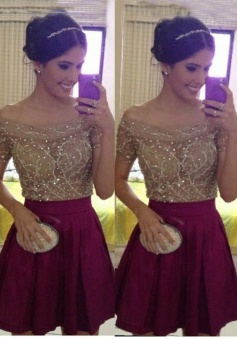 A-line Off-the-shoulder Short Chiffon Beaded Short Sleeves Burgundy Prom Homecoming Dress