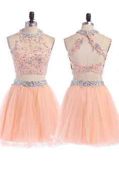 A-Line Short Open Back Pink Tulle Homecoming Dress With Appliques Beading