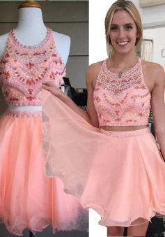 Two Piece A-line Halter Knee-Length Chiffon Beaded Backless Pink Party Homecoming Dress
