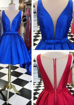 A-line Knee-Length V-neck Satin Short Red/Blue Homecoming Dress with Ribbon