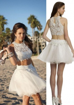 Two Piece Jewel Lace Top White Tulle Homecoming/Cocktail Dress