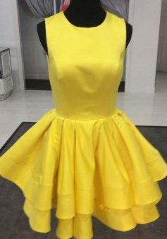 A-line Jewel Short Satin Ruched Sleeveless Yellow Homecoming Dress