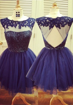 Cute Shot Royal Blue  Homecoming Dress - Scoop Lace Applique Open Back