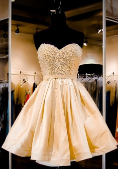 Gorgeous Strapless A-line Gold Short Homecoming Dress with Pearls