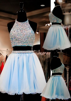 Two Piece A-line Halter Organza Beaded Short Light Blue Homecoming Dress