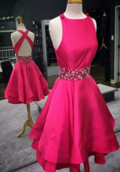 A-line Jewel Satin Criss-Cross Straps Beaded Short Hot Pink Homecoming Dress