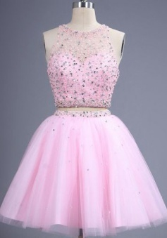Two Piece A-line Tulle Short Open Back Sequins Pink Homecoming Dress