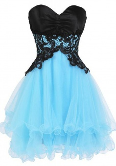 A-line Sweetheart Tulle Lace-up Short Blue Homecoming Dress with Black Appliques