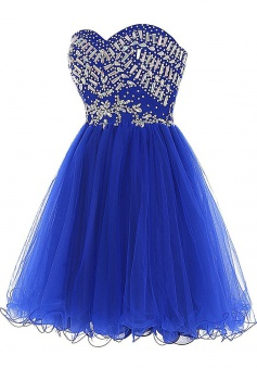 Hot-selling Sexy Sweetheart Royal Blue Homecoming Dress with Rhinestones