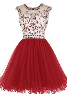 A-line Jewel Short Cap Sleeves Tulle Open Back Red Homecoming Dress with Rhinestones