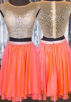 Two Piece Jewel Short Chiffon Beaded Cap Sleeves Orange Homecoming Dress