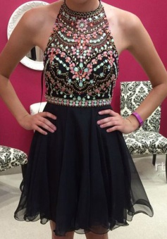 Sexy Halter Sleeveless Short Black Homecoming Dress with Beading Rhinestones
