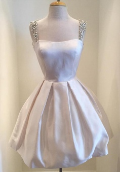 A-line Square Short Satin Ivory Sleeveless Homecoming Dress with Beaded