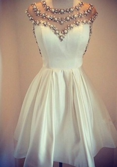 Stylish Jewel Cap Sleeves Short White Homecoming Dress with Pearls